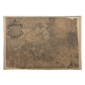 Ye Great Town of Boston Map by William Price 1743 Cloth Placemat