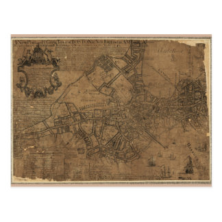 Ye Great Town of Boston Map by William Price 1743 Postcard