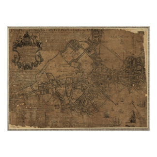 Ye Great Town of Boston Map by William Price 1743 Poster