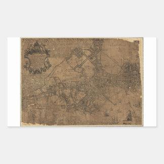 Ye Great Town of Boston Map by William Price 1743 Rectangular Sticker