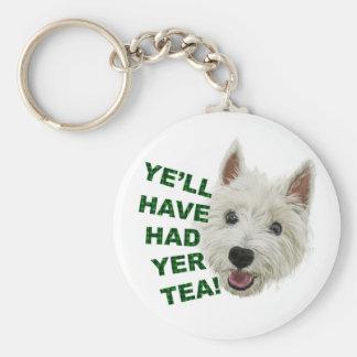 Ye'll have had yer tea basic round button keychain