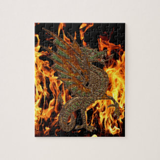 Ye Old Medieval Dragon Design Jigsaw Puzzle