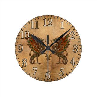 Ye Old Medieval Dragon Design Round Clock