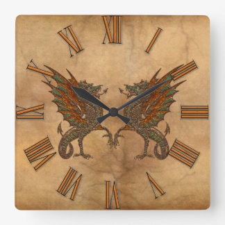 Ye Old Medieval Dragon Design Square Wall Clock
