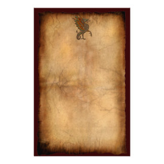 Ye Old Medieval Dragon on Parchment Design Stationery