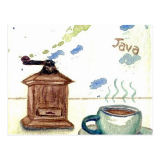 Ye Olde Coffee Grinder - Coffee Folk Art Postcard