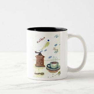 Ye Olde Coffee Grinder  – cricketdiane coffee desi Two-Tone Coffee Mug
