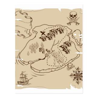 Ye Olde Pirate Treasure Map Postcard