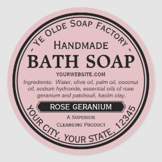 Ye Olde Soap Factory Handmade Round Soap Labels Classic Round Sticker
