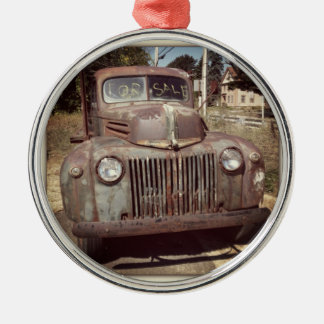 Ye ole flatbed round metal christmas ornament