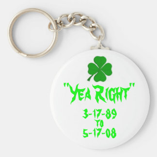"""Yea Right"" Clover memorial key chain"