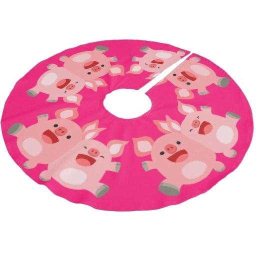 Yeah cute cartoon pigs tree skirt zazzle