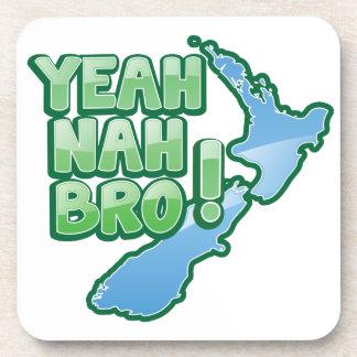 Yeah nah BRO New Zealand KIWI  Auckland design Beverage Coaster
