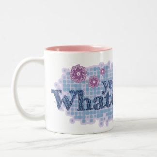 yeah whatever... denim blue & pink mug