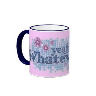 yeah whatever... denim blue & pink teen mug ringer mug