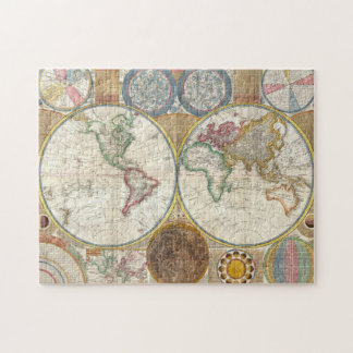 Year 1789 Antique coloured world map puzzle