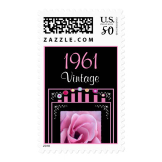 Year: 1961 Birthday Vintage Pink Rose & Candles Postage