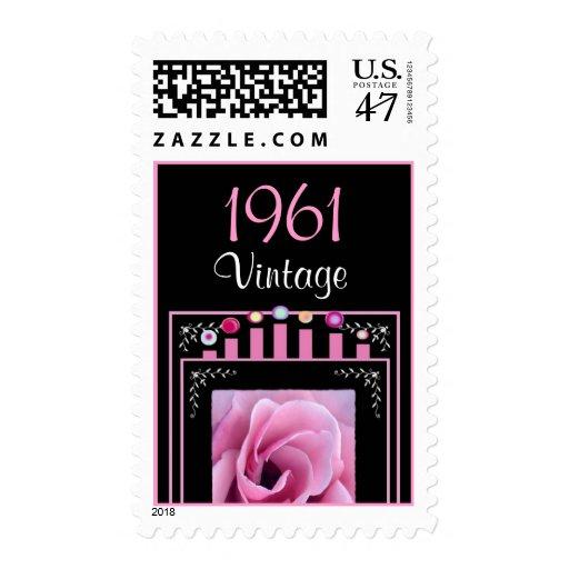 Year: 1961 Birthday Vintage Pink Rose & Candles Stamp