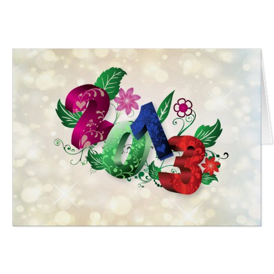 Year 2013 3D with floral insertions Card