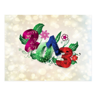 Year 2013 3D with floral insertions Postcard