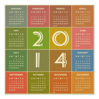 Year 2014 Calendar in Retro Style and Colors Poster