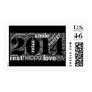 Year 2014 word cloud with happy terms stamp