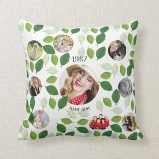 Year Born 9 Photo Collage Instagram Green Leaves Throw Pillow