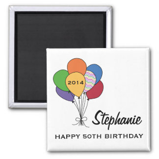 Year Dated, Age, Name Personalized Birthday 2 Inch Square Magnet