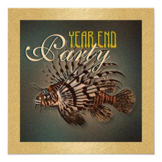 """year end"" elegant fishing marine fish 5.25x5.25 square paper invitation card"