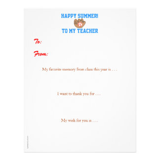Year-end personalized teacher thank you - baseball letterhead