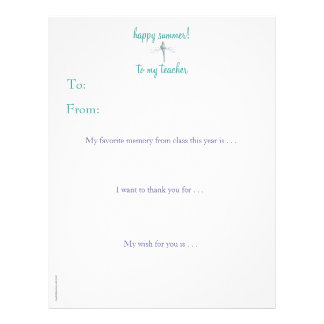 Year-end personalized teacher thank you -dragonfly letterhead