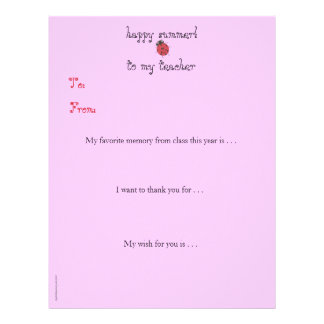 Year-end personalized teacher thank you - ladybug letterhead