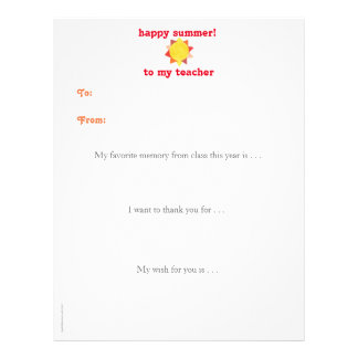 Year-end personalized teacher thank you note - sun letterhead