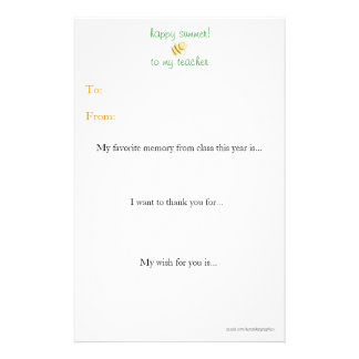 Year-end teacher thank you note stationery design