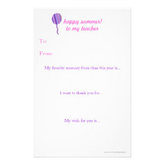 Year-end teacher thank you note customized stationery