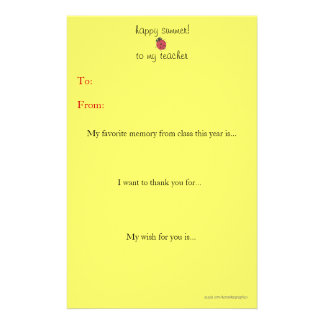 Year-end teacher thank you note custom stationery