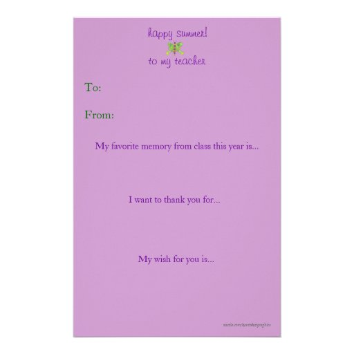 Year End Teacher Thank You Note Stationery Zazzle