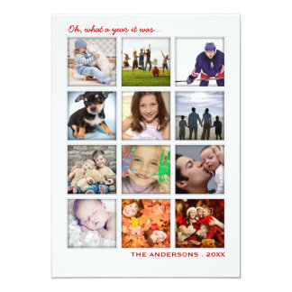Year in Review 12 Photo Collage Holiday Card Personalized Invites
