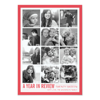 Year in Review 12 Photo Collage Holiday Photo card
