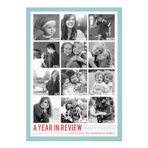 Year in Review 12 Photo Collage Holiday Photocard Custom Invitation
