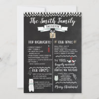 Year In Review Christmas Card Chalkboard
