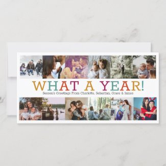 Year In Review Twelve Photo Personalized Christmas Holiday Card