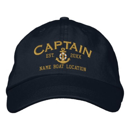 Year Name to Customize Captain LifeSaver Anchor Embroidered Baseball Hat