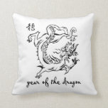 year of dragon outline.png throw pillows