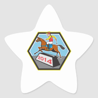 Year of Horse 2014 Jockey Jumping Cartoon Sticker