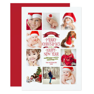 Year of Photos Merry Christmas Photo Collage Card