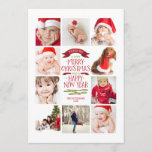 """Year of Photos Merry Christmas Photo Collage Holiday Card<br><div class=""""desc"""">Space for ten wonderful photos of your beautiful family! In a festive Christmas red and white that's perfect for celebrating the season, this 5x7 card features a modern typography message for a Merry Christmas and a Happy New Year. Clean styling highlights your family photos. Room on the back for your...</div>"""