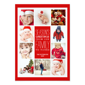 Year of Photos Season's Greetings Collage in Red 5x7 Paper Invitation Card