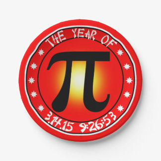 Year of Pi  3/14/15 9:26:53 7 Inch Paper Plate