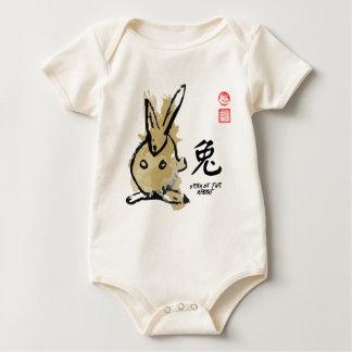 Year of RABBIT Painting Seal Animal Chinese Zodiac Baby Bodysuit